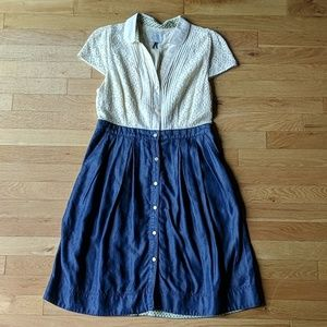 Ivory Lace & Denim Button-Up Dress